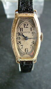 Vintage 1920s Art Deco Filigree 10ct Gold Filled Ladies Hamilton Watch; Serviced