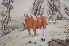"""Rare Chinese 100% Handed Painting & Scroll """"Horse"""" By Lang Shining 郎世宁 WED359"""