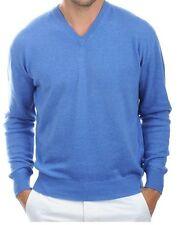 Balldiri 100% Cashmere Kaschmir Herren Pullover V Ausschnitt blau meliert XXL