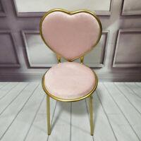 Romantic Velvet Heart Shaped Gold Frame Backrest Chairs Lounge Cafe Padded Seats