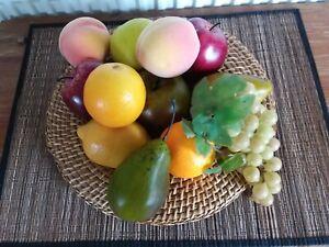 Artificial Faux Fake Fruit 12 Item Bundle Apple Pear Orange Lemon Grapes Peach