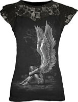 Spiral Direct ENSLAVED ANGEL Womens Goth Rock Lace Layer Cap Sleeve Top Clothing