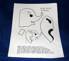 "VTG WOODWORKING PATTERN, SMALL 4"" ELEPHANT HEAD PATTERN, YARD ART, KIDS ROOM"