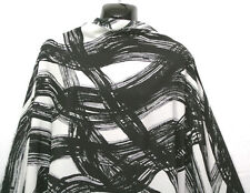 NEU * Dicke Striche Print in schwarz/cremeweiß Crêpe de Chine Dress/Handwerk Stoff