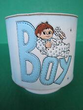 Vintage MUSICAL Rock-a-Bye Baby Boy Vase Floral Planter Drum Nursery Nancy Pew