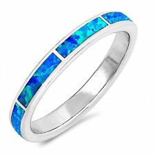 3mm Band Ring Created Opal 925 Sterling Silver Choose Color