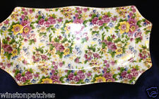 """TWO'S COMPANY TWC11 RECTANGULAR TRAY PLATTER 11"""" CHINTZ YELLOW PINK BLUE FLORAL"""