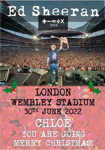 Personalised Ed Sheeran Tour 2022 Concert Ticket Card A5 ANY VENUE Merry Xmas