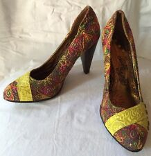 New Size 8M NAUGHTY MONKEY SHOES Pumps Yellow Leather&Gray Fabric W/ Embroidery