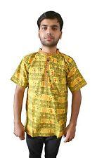Men Kurta Indian Handmade Top Tunic Half Sleeve Bollywood Yellow 100% Cotton