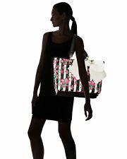 New Betsey Johnson East West Bakery Stripe Floral Tote Satchel With Pouch Purse