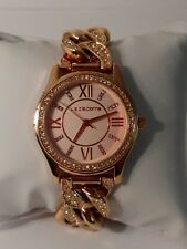B071 Jcpennys Liz Claiborne Watch rose gold tone Roman numerals Chain style band