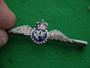 SUPER WW2 RAF STAMPED STERLING SILVER & ENAMEL SWEETHEART PIN BROOCH WITH WINGS
