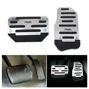 Car Non-Slip Automatic Gas Brake Foot Pedal Pad Cover Accessories Kit Set Silver