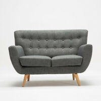 Loft 2 Seater Sofa in Grey Fabric Modern Classic Wooden Legs Comfort Luxury