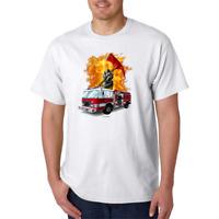 USA Made Bayside T-shirt Firefighter Fire Truck Fireman