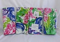 "4 New Tobin Cambridge Napkins 16"" x 17"" Cotton Purple Pink Green Floral Tropical"