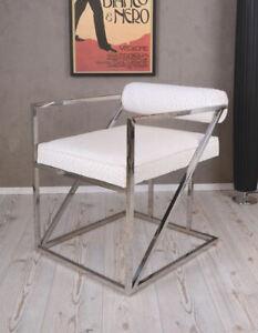 B-Ware Retro Designer Sessel Weiss Bauhaus Stil Loft Ambiente art deco