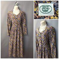 Vintage Laura Ashley Navy Floral Cotton Wool Dress UK 14 EUR 40 USA 10