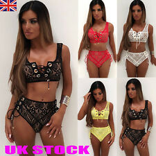 UK Womens Lace Bra Triangle Bikini Sets Bandage Beachwear Swimsuit Swim Costume