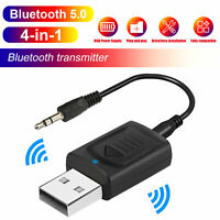 USB Wireless Bluetooth 5.0 Transmitter Receiver 4in1 Audio Adapter 3.5mm Aux Car
