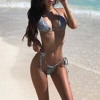 Snake Cheetah Print Brazilian String Bikini Two Piece Set Sexy Swimsuit Tie Side