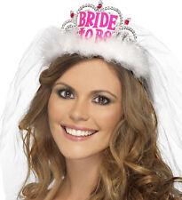 Tiara Pinke Aufschrift BRIDE-TO-BE Brautschleier Weiß Junggesellenabschied JGA