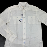 Johnnie O Mens Hangin' Out Long Sleeve Linen Blend White Shirt Size Medium