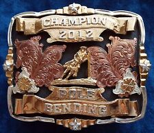 2012 Champion Pole Bending Trophy Buckle German Silver-Silver & 24K Gold Plated