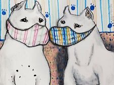 DOGO ARGENTINO Quarantine Original 9x12 Pastel Painting Signed Artist Steampunk