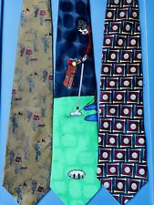 LOT OF 3 TIES with GOLFERS & CADDIES, PUTTING A 3-D GOLF BALL & BALLS AND TEES