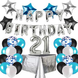 caicainiu 21st Birthday Decorations for boy Blue and Silver Black Birthday Happy