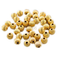 100 pcs 6mm Gold-plated Corrugated spacer findings loose beads charms FREE SHIP