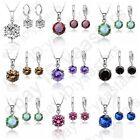 Cubic Zircon Cz Crystal Necklace Earrings Jewelry Set For Women Wedding Gifts