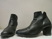 GABOR BLACK LEATHER ZIP UP HEELED ANKLE BOOTS UK 4 (3461)