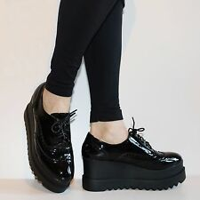 Womens Girls Party Patent High Heel Platform Lace Up Ankle Boots Shoes Size.7509