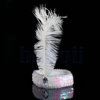 New Soft / Stretchy Feather Hairband Flapper Sequin Charleston Hair Headpiece MA