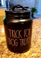 "RAE DUNN Halloween Orange LL ""TRICK FOR DOG TREATS"" Black Canister By Magenta"