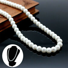 Oblate Women Fashion Freshwater Elegant Pearl Jewelry Necklace Gift 8mm White