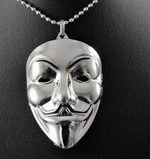 Silver V for Vendetta Guy Fawkes Mask Pendant Chain w/Free Jewelry Box and Ship