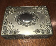 "Vintage Godinger Rose Embossed Silver Plated 9.5"" Jewelry Box"
