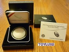 2014 PROOF National BASEBALL Hall of Fame 90% SILVER Dollar Mint Curved Coin COA