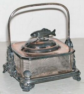 Antique Victorian Silverplate Cut Crystal Sardine Caviar Dish Server Lid Handle
