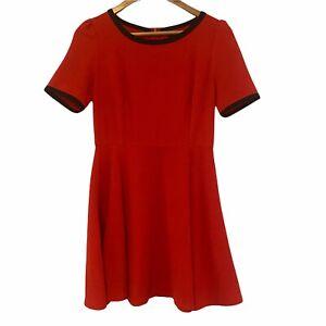 DANGERFIELD Women's Size 10 Red & Black Retro Vintage Style Fit Flare Mini Dress