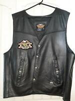 Mens Genuine Harley Davidson XL Leather Vest H.O.G. Logo. Maybe worn twice NICE