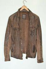** ** Allsaints para hombre de cuero Esmeril impresionante Camisa Chaqueta Pequeña Moto Biker marrón