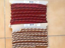 FLANGE CORD  MULTI GOLD/BROWN TONINGS, 4.9 mx 12 mm,RED/WINE TONINGS 3.9m X 12mm
