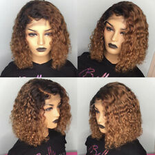 Ombre Blonde Lace Front Wigs Ladies Afro Black Deep Kinky Short Curly Hair Wig