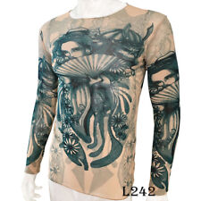 Japanese Geisha Tattoo Sport T-Shirt Tattoo Tops Biker Cycling Fitness Plus Size