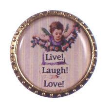 Cherub Round John Wind Vintage Jewelry Maximal Art Pin Live Love Laugh Angel